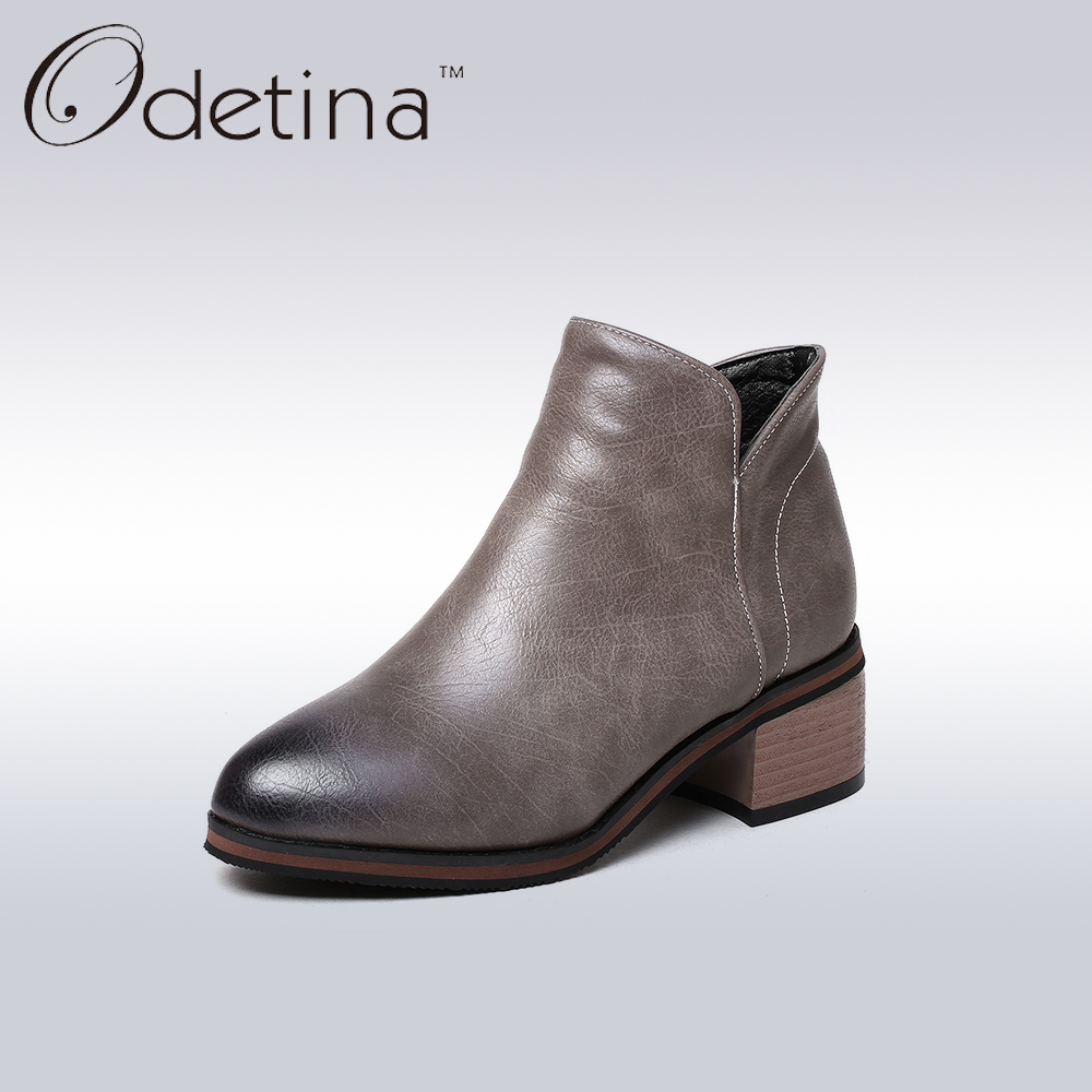 ФОТО Odetina Women Side Zipper Almond Toe Ankle Booties 2017 Spring Chunky Heel Ladies Boots Big Size Female Non-slip Black Boots