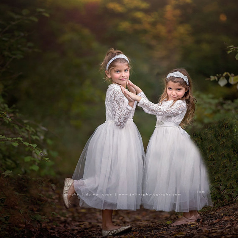 Long Sleeve White Lace Flower Girl Dresses With Edge Christmas Evening First Communion Dresses A-Line Mother Daughter Dresses