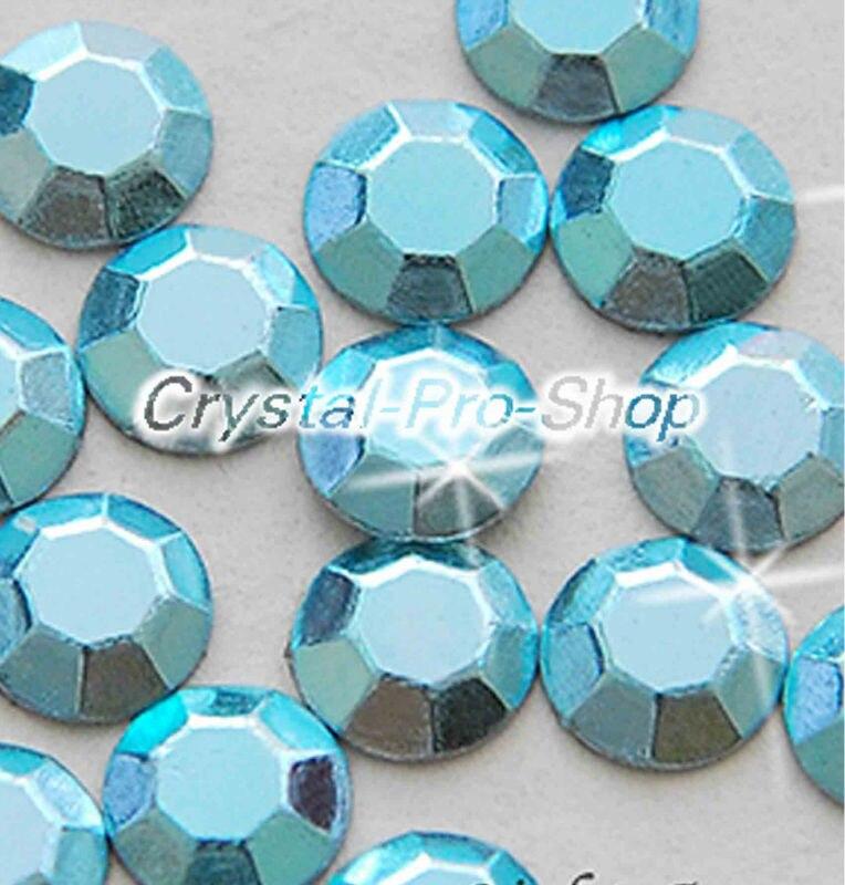 7200 pieces Light Aquamarine 2mm 6ss ss6 Faceted Hotfix Rhinestuds Iron On Round Beads new Aluminium Metal (u2m-Lt Aqua-50 gr)