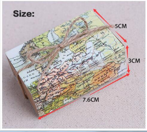World Map Gift Bags.Around The World Map Favor Box For Traveling Theme Wedding