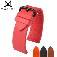 MAIKES New Fluororubber Watchbands 22mm 24mm Fashion Sports Rubber Strap Watch Band With Black Buckle Watch