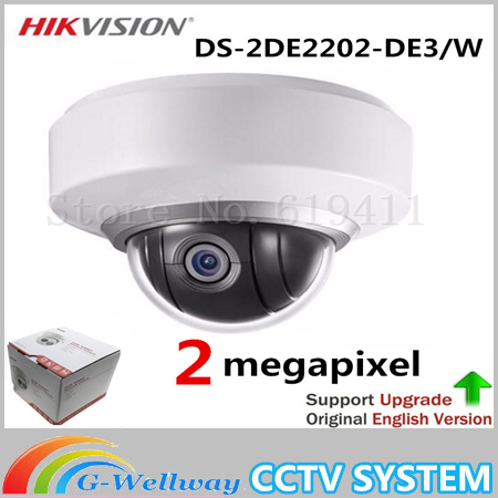 Original English version Wifi Wireless Camera IP DS-2DE2202-DE3/W 1080P Auto PTZ Dome Camera 2X Zoom Built In Mic and Audio hikvision ds 2de7230iw ae english version 2mp 1080p ip camera ptz camera 4 3mm 129mm 30x zoom support ezviz ip66 outdoor poe