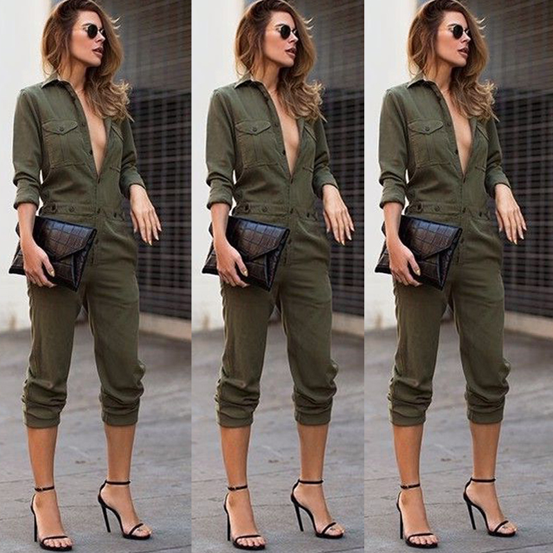 fbc301011dd Sexy Women New Fashion Slim Bodycon Jumpsuit Long Sleeve Army Green ...