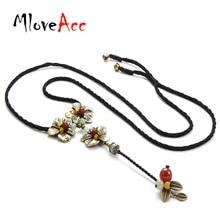 Фотография MloveAcc Brand Vintage Metal Flower Pendant Necklaces for Women Ethnic Stone Beads Charm Long Drop Antique Bronze Plated jewelry