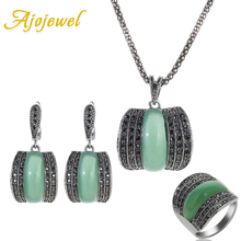 Ajojewel Original Designer Antique Silver Color Women Jewelry Set Geometric Green Stone Ring Necklace And Earrings Sets