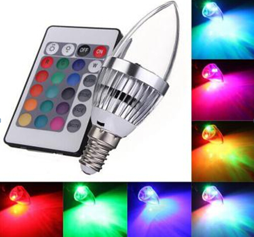 10pcs E14 3W RGB LED Candle light Color Changing Chandelier Candlestick Candle lamp 85-265V With 24Key Remote Controller