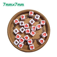Charms Cube Acrylic Letter Alphabet Heart Beads Fashion Letter Red Heart Printed White Beads Fit DIY Jewelry Making 7mm 1900Pcs