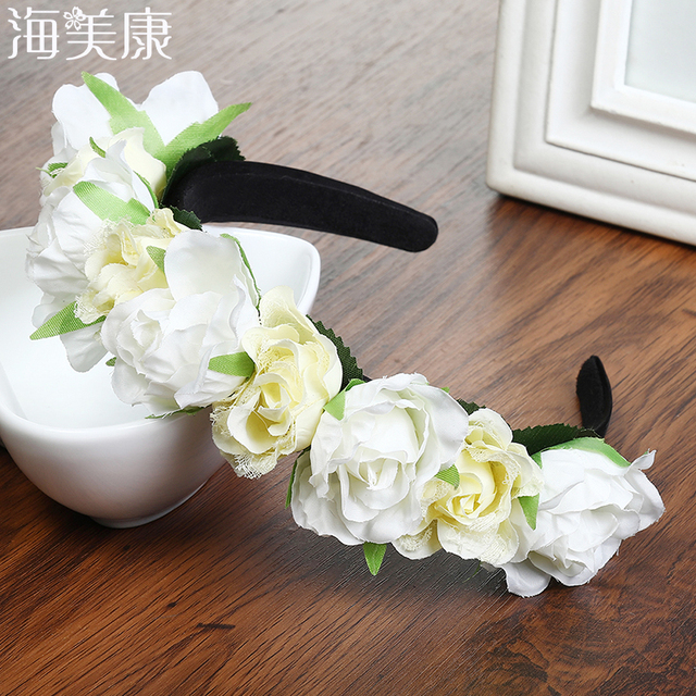 Haimeikang White Rose Color Wedding Garland Hairband Beach Flower Crown For  Girls Women Headband Hair Rose Band Hair Accessories fba26ccc227