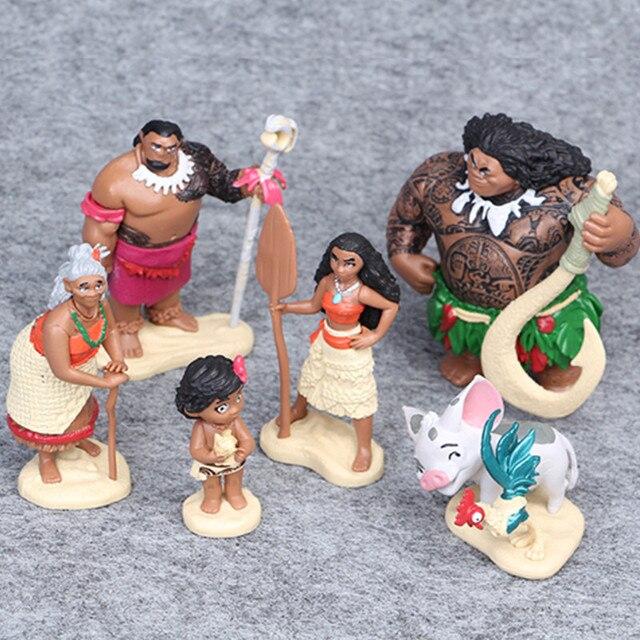 Disney 6pcs/set 6 12cm Cartoon Movie Vaiana Moana Princess Maui Chief Tui Tala Heihei Pua Action Figure Decoration Toys For Kids