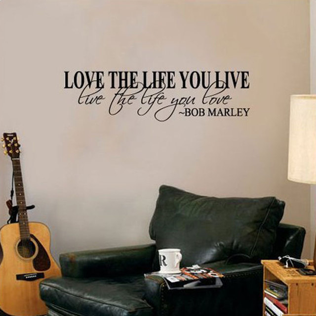Bob Marley Quote Wall Decal Decor Love Life self adhesive waterproof ...