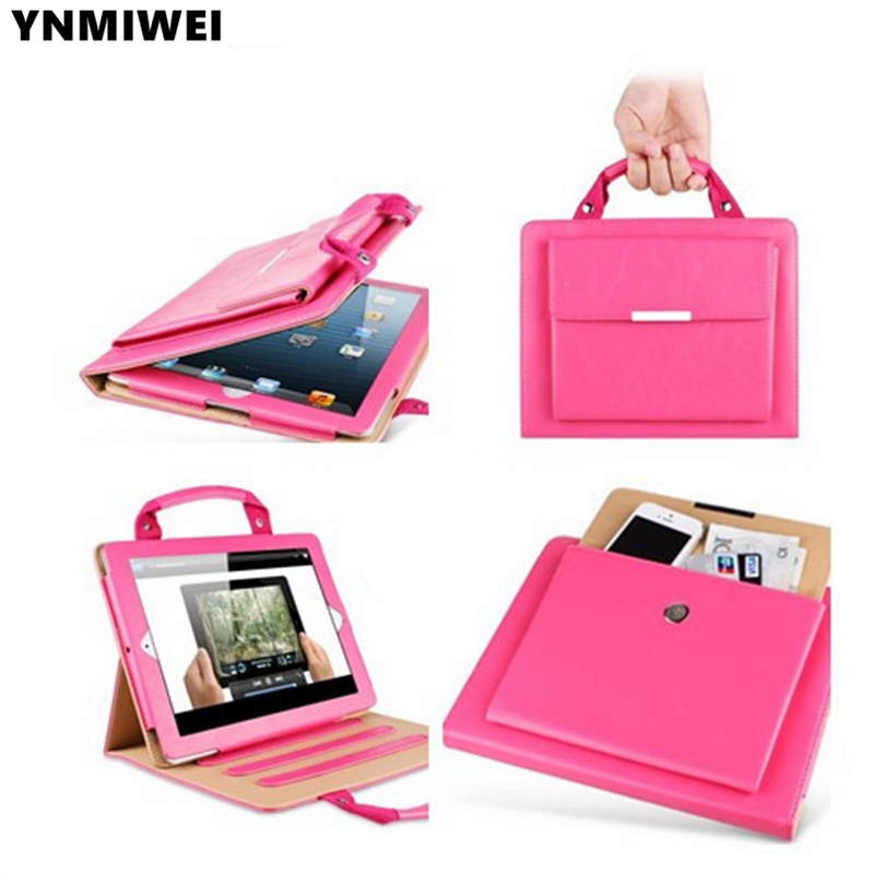 Bag Leather case For iPad 2 3 4 Handbag Portable Cover Case , 6Color+screen protectors+stylus pen rotary revolving leather punch plier round holes for belt bag paper leather spray chroming pvc grip 2 2 5 3 3 5 4 4 5mm