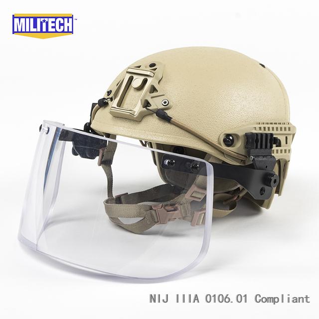DE Tan CP Fuselagem Quadro Ventilado Ar IIIA NIJ 3A Conjunto Negócio Ballistic Helmet Escudo Viseira do Capacete À Prova de Bala à prova de balas máscara