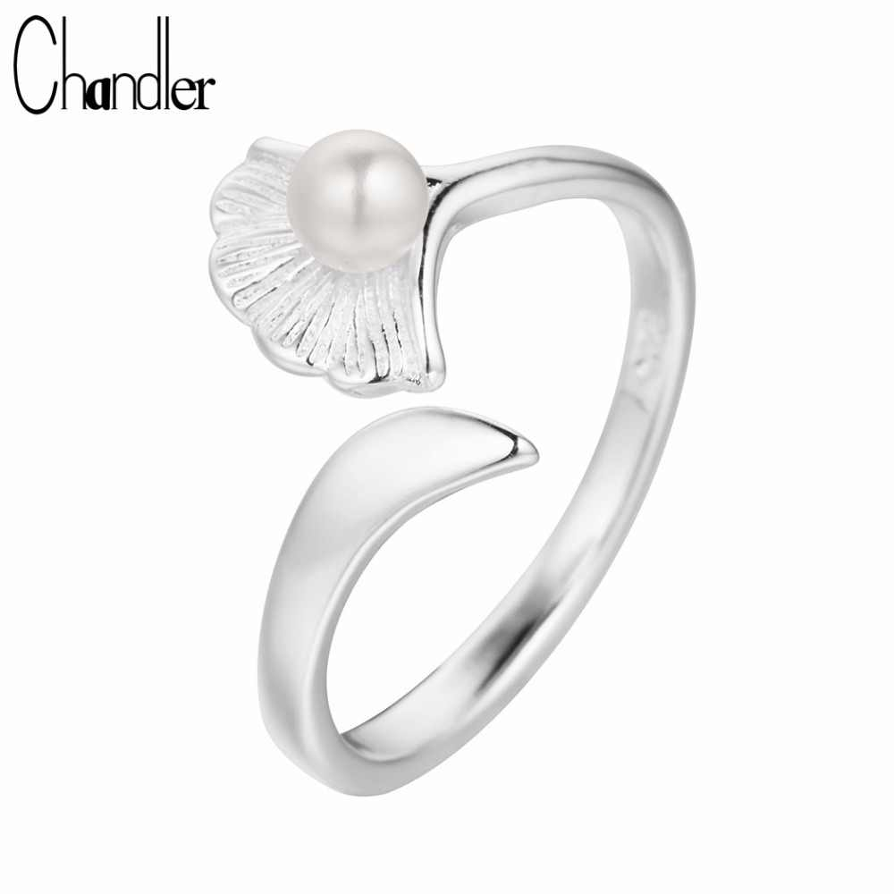 Chandler  Gingko Leave Ring Midi Pinkie Finger Bague For Women Gift Open Simulated Pearl Love Elegent Jewelry