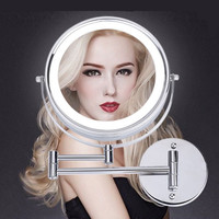 SpringQuan 8.5 inch metal cosmetic mirror 2 Face battery LED lights Makeup mirror 5X amplification telescopic arm bath mirror