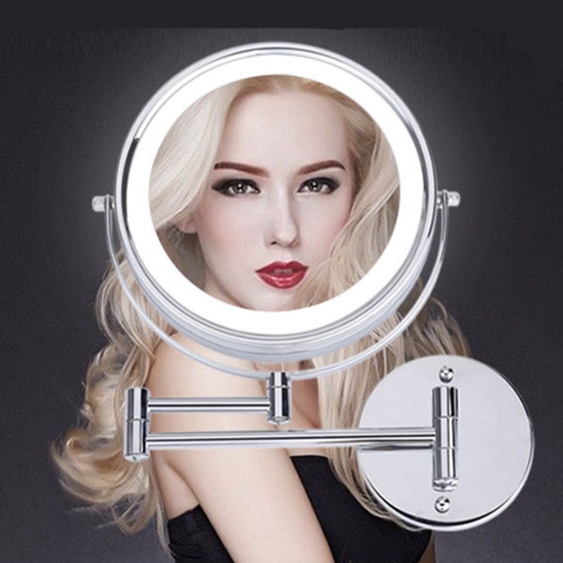 SpringQuan 8.5 inch metal cosmetic mirror 2-Face battery LED lights Makeup mirror 5X amplification telescopic arm bath mirror 6 inch 5x magnification cosmetic makeup mirror round shape 2sided rotating magnifier mirror led light makeup mirror for gift
