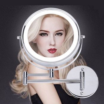 SpringQuan 8.5 inch metal cosmetic mirror 2-Face  battery LED lights Makeup mirror 5X amplification telescopic arm bath mirror