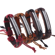 """Fashion Vintage English Word """"Where there is a will there is a way"""" Leather Bracelet & Bangles for Women Men Gifts Jewelry FS015"""