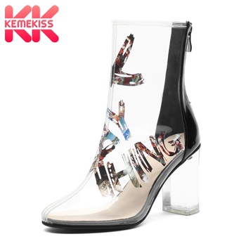 KemeKiss Women Ankle Boots Colorful Print Transparent Shoes Women Patchwork Patent Leather Zipper High Heel Boots Size 33-41