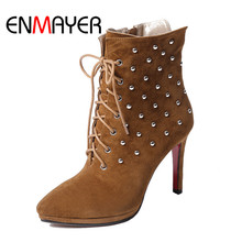 лучшая цена ENMAYER Kid Suede Women Ankle Boots Shoes women Size 34-39 Casual Pointed Toe Winter Thin High Heels Fashion boots Brown CR491