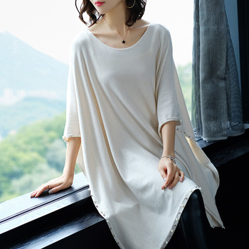 Autumn and winter casual women's solid color long section cloak shirt bat sleeve round neck pullover beaded shawl sweater