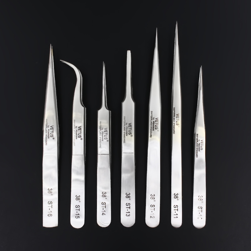 100% Genuine Vetus ST Series New HRC 38 Ultra Precision 302 Stainless Tweezers Mink Eyelash Extensions Anti Acid