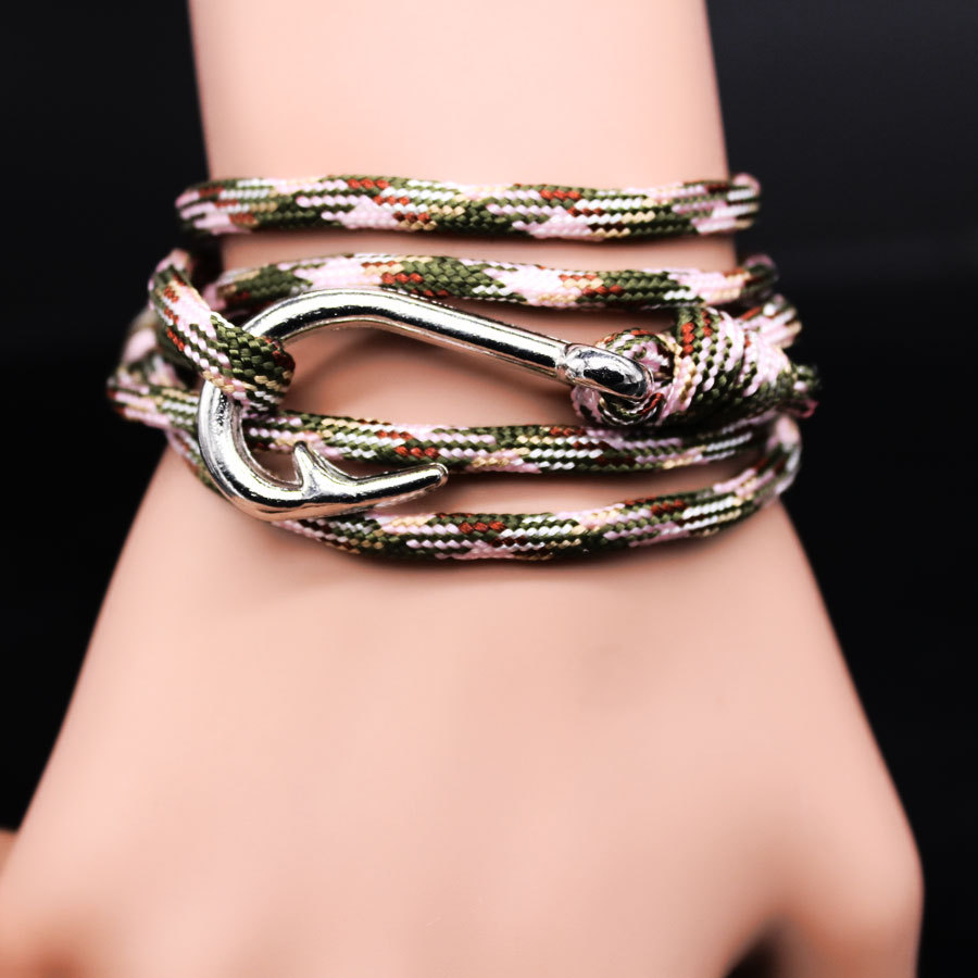 WBO71 2015 DIY wound knit navy ancient silver plated bracelet Hot fishing hook bangle Free ...