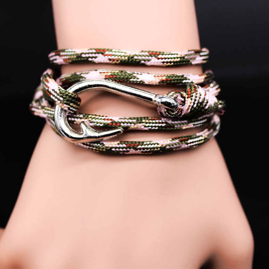 WBO71 2015 DIY wound knit navy ancient silver plated bracelet Hot fishing hook bangle