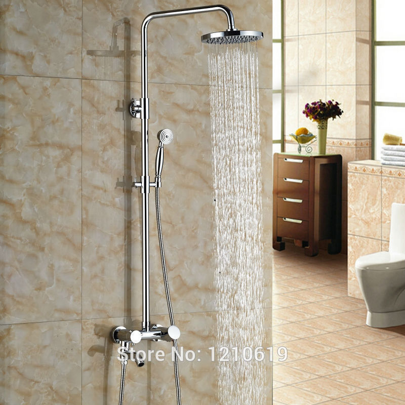 цена на Newly Rainfall 8 Inch Bath Shower Mixer Faucet Chrome Polished Wall Mount Shower Set Faucet w/ Hand Shower