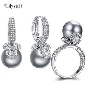 Женский комплект украшений, сережки с серым жемчугом и цирконом, комплект из 2 предметов