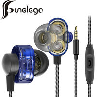 Funelego New Technology Double Dynamic Earphone Two Unit Driver HIFI Bass Headset FW 11 With Mic