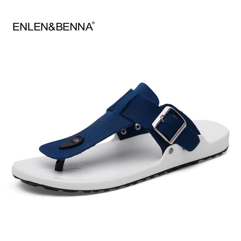 ed6db8ab676e8 2018 Canvas Sandals Men Black Blue Grey Flip Flops Casual Flat Sandals  Summer Beach Slipper Men