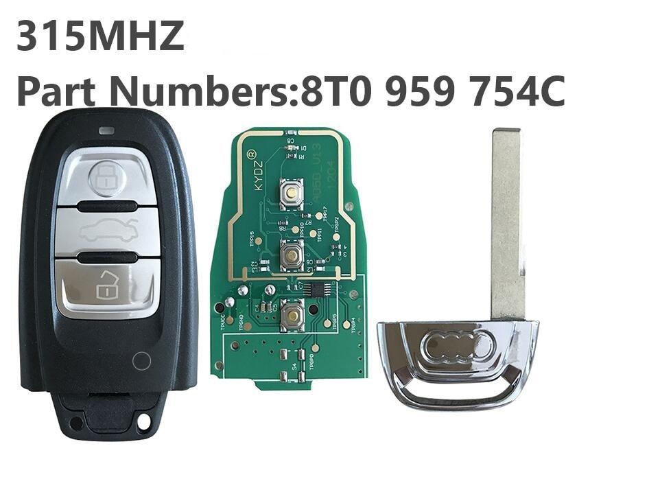 5PCS LOT Replacement Smart Remote Key 3 Button 315MHZ 8T0 959 754C for Audi Q5 A4L