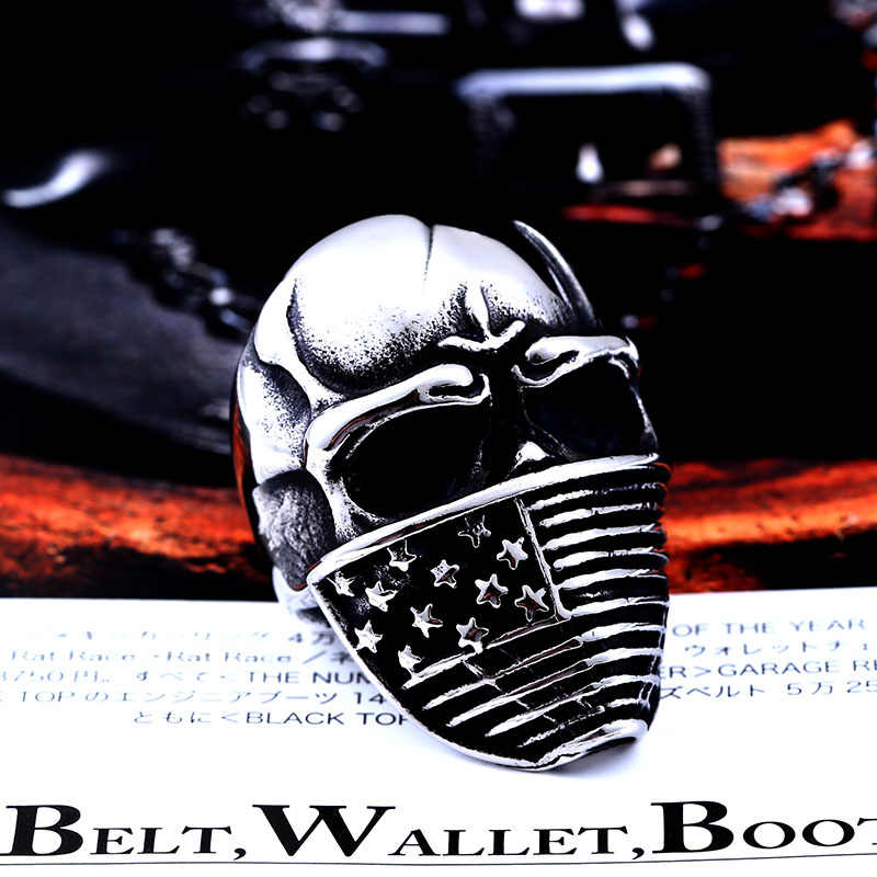 BEIER American Flag Stainless Steel Skull Ring For Man Personality Biker Jewelry Wholesale Factory Price BR8-283