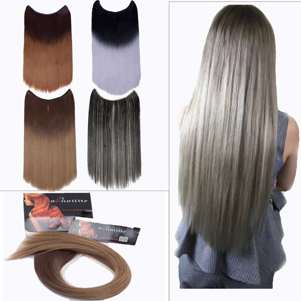 Synthetic Clip-in One Piece Soowee 60cm Synthetic Hair Straight Black To Ombre Hair 5 Clip In Hair Extensions Hairpiece False Hair On Hairpins For Women High Quality Materials Hair Extensions & Wigs