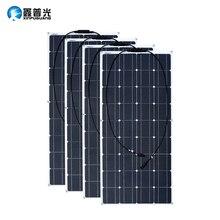 2PCS 4PCS 3PCS שמש פנל 100 W Monocrystalline שמש סלולרי גמיש עבור רכב/יאכטה/ספינת קיטור 12V 24 וולט 100 ואט סולארי סוללה