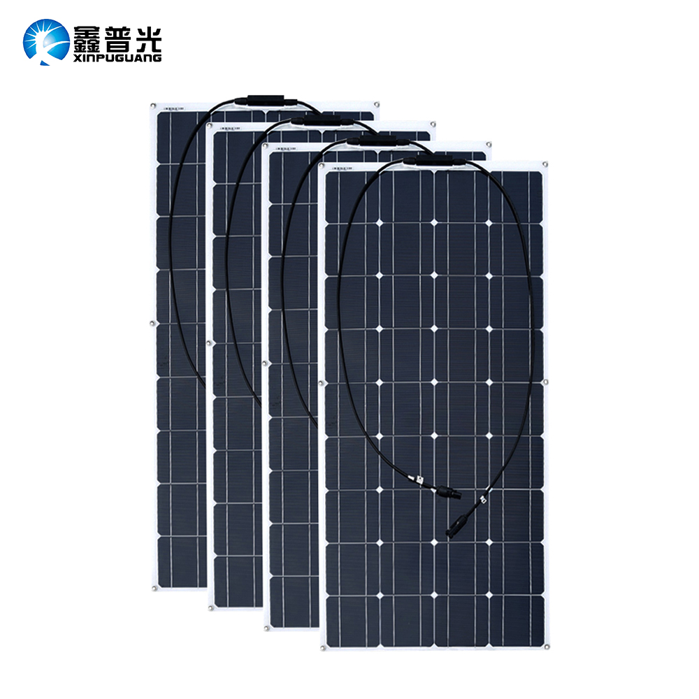 2PCS 4PCS 3PCS <font><b>Solar</b></font> <font><b>Panel</b></font> 100W Monocrystalline <font><b>Solar</b></font> Cell Flexible for Car/Yacht/Steamship 12V 24 Volt <font><b>100</b></font> <font><b>Watt</b></font> <font><b>Solar</b></font> Battery image