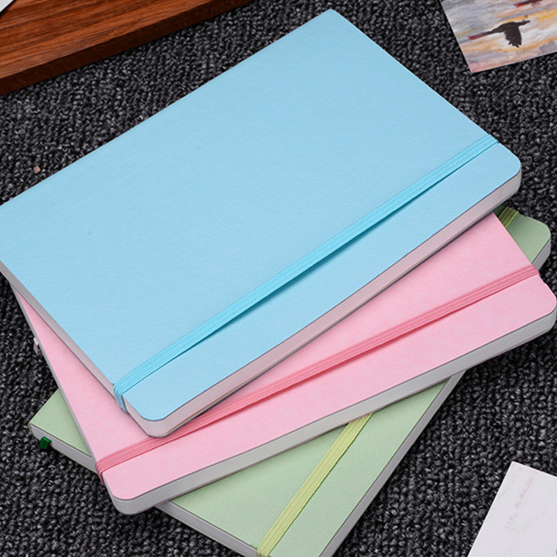 Soft Cover Dot Grid Candy Color A5 PU Notebook Elastic Band Creative Dotted Bullet Journal Bujo