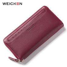 WEICHEN Zipper Clutch Wallets for Women Coin Purses Card Holder Phone Pocket Long Purse Fashion Female Wallet Carteira(China)
