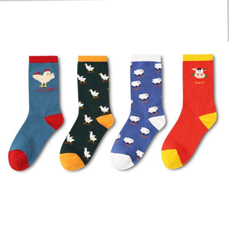 2018 Cows,Sheep,Goose,Chicken Women Socks Unisex Hipster Socks Cotton Short Cozy Farm Animals Cute Socks Female Men Zoo Pop Soks
