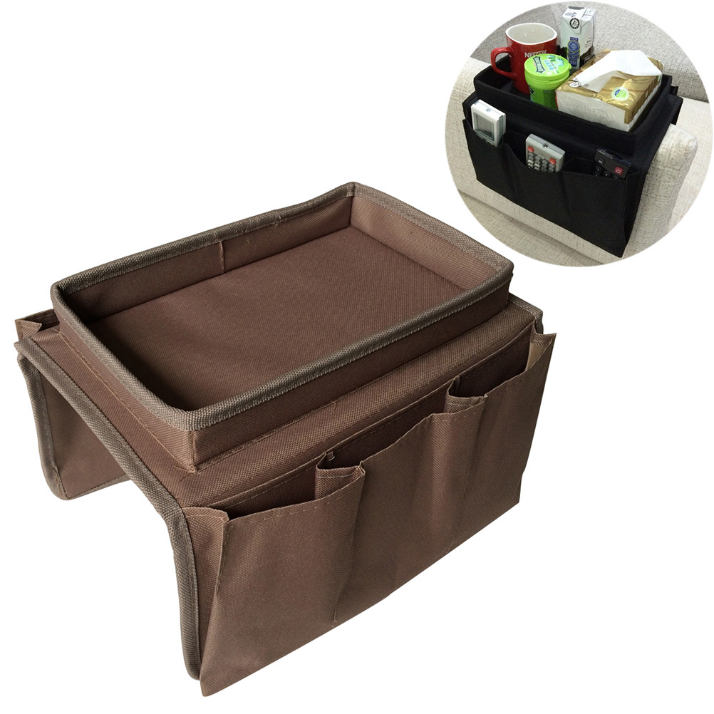 Sofa Armrest Organizer With 4 Pockets Cup Holder Tray