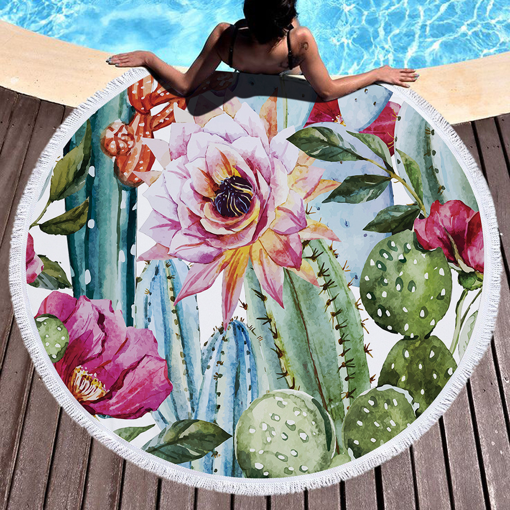 Summer Sunbath Pineapple Cactus Printed Large Big Microfiber Round Towel Beach With Tassels Thick Terry Serviette De Plage