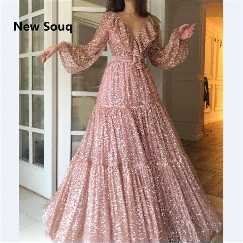 Fashion Blush Pink Sequins A-Line Prom Dresses Sexy V-neck Long Sleeves Floor Length Evening Dress Vestido De Fiesta