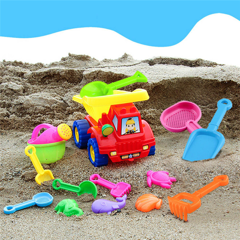 14pcs Kid Beach Sand Toys Mould Sets Spade Rake Kits Sand Building Molds Pit Toy Gifts Sandbox For Children A1