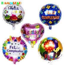 Spanish Happy Birthday Balloons 50pcs/lot Party Aluminium Foil Helium Infaltable Ballon 18inch Globos Accessories