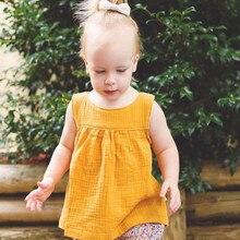Одежда для малышей жилет для девочек топы Повседневная одежда без рукавов для девочек Однотонные блузки с защипами для Одежда для детей, платье-рубашка, блузка