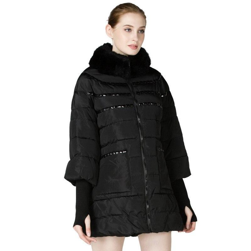 Mode Loisirs Nouveau Parka Noir Hiver Col Fourrure Automne Moyen De Manteau Chaud Veste Femme 2018 Longueur Yvb7I6gyf