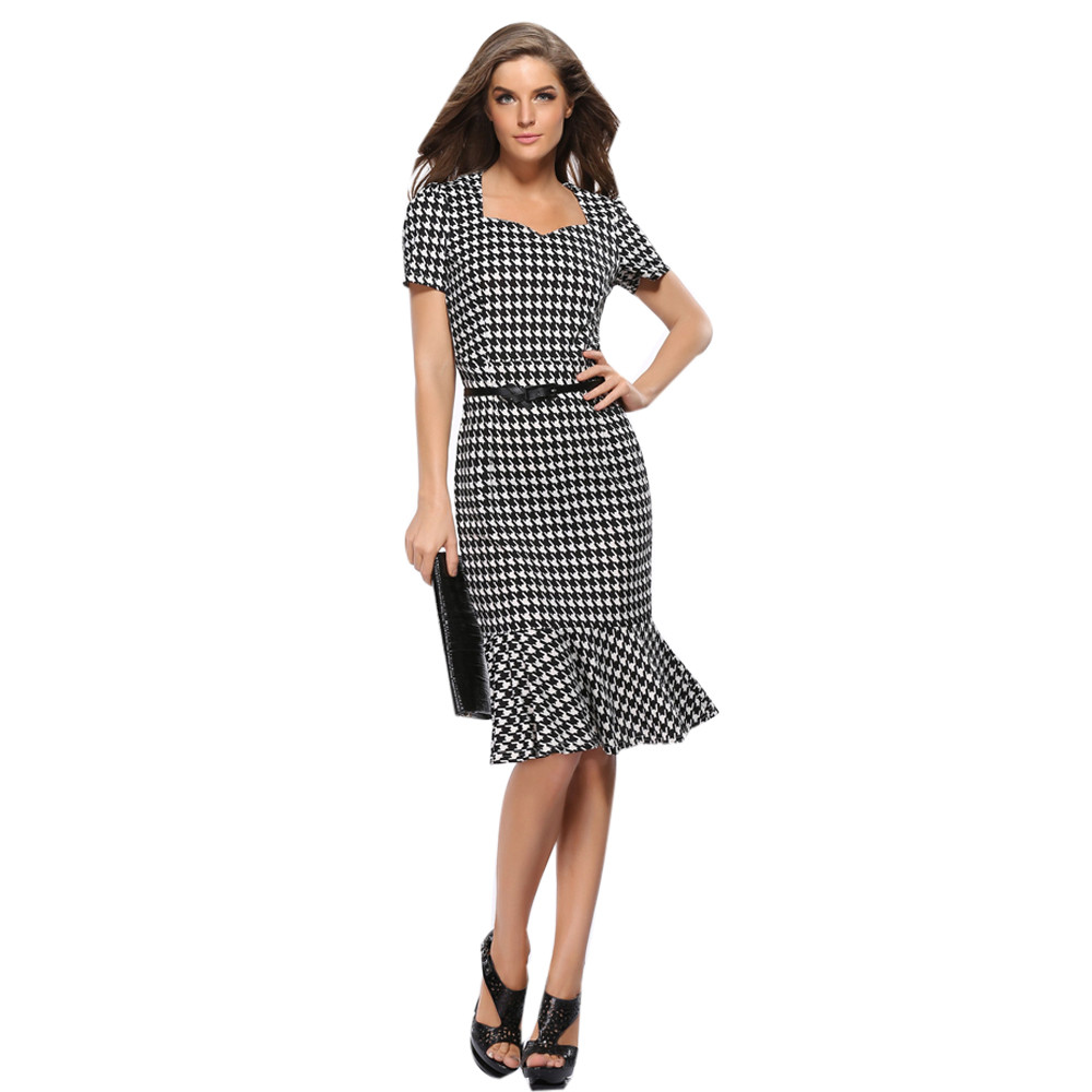 90ba9235a99a MUQGEW 2019 Summer Elegant Women Business Dress Fashion Houndstooth Bodycon  Work Party Trumpet Dress Womens Clothing