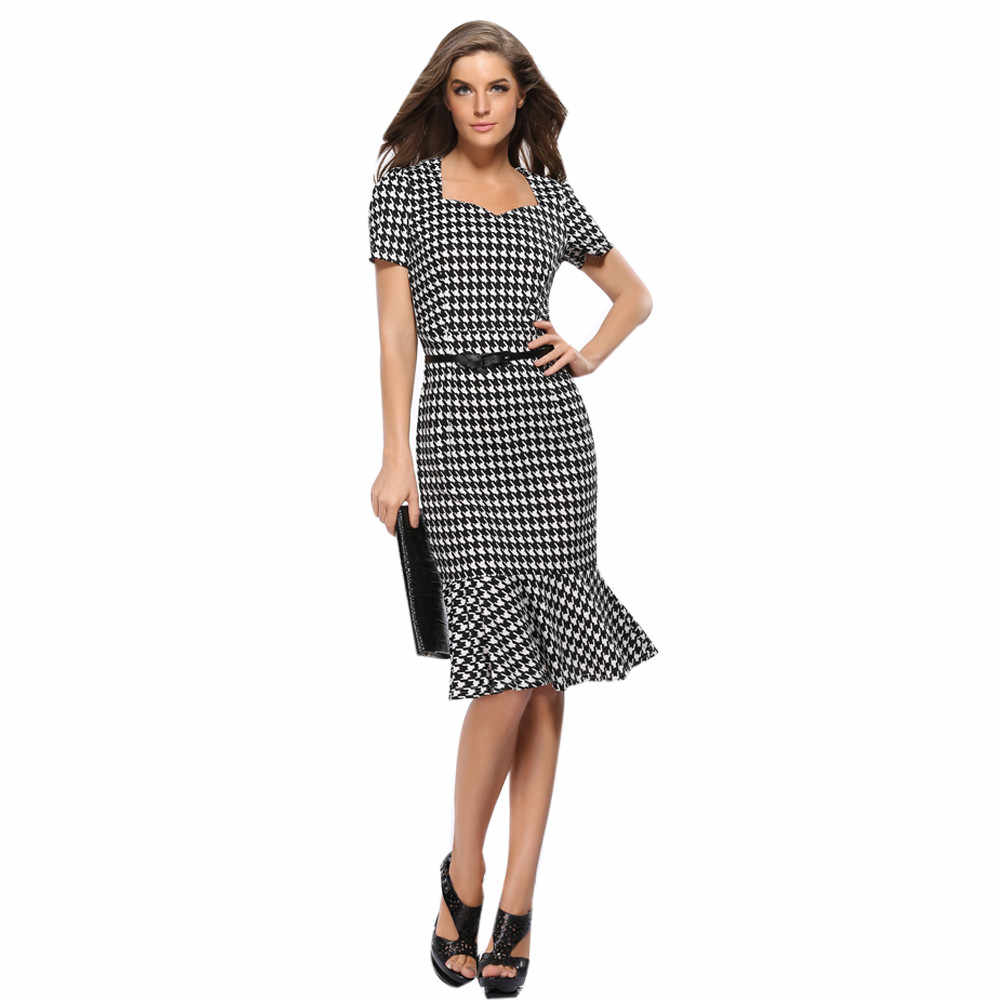 New Fashion Summer Dress Women Plus Size Elegant Houndstooth Bodycon  Cocktail Party Celeb Pencil Office Dress b1dc0e694c5b