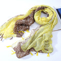 Moda primavera verano 2017 de las mujeres toalla de playa de moda de impresión de algodón nacional de viento borla bufanda de aire acondicionado del cabo bufandas