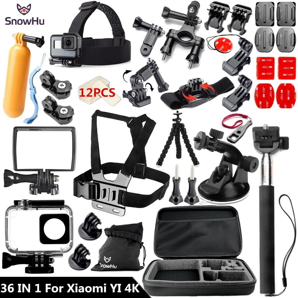 SnowHu For Xiaomi Yi 4K Accessories Stick Waterproof Case Tripod For Xiaomi Yi 4K Yi2 Action International Camera 2 II GS61